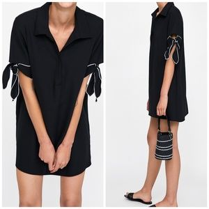 Zara | Contrasting Bow Sleeve Black Shift Dress